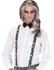 Halloween Totenkopf-Hosenträger für Erwachsene schwarz-weiss