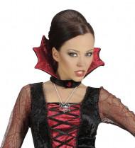 Halloween Spinnennetz-Halskette silber-schwarz-rot 46 cm lang