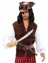 Piraten-Hemd mit Weste braun-weiss