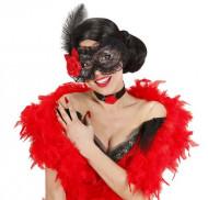 Spitzen-Maske mit Rose Kostümaccessoire schwarz-rot