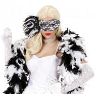 Edle Spitzen-Maske mit Federschmuck schwarz-weiss