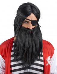 Kostümzubehör-Set Piraten-Perücke mit Bart schwarz
