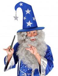 Magier-Hut mit Sternen Zauberer blau-silber