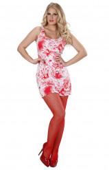 Blutiges Kleid Halloween weiss-rot