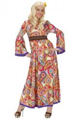 Hippiekleid Hippie-Damenkostüm im Paisley-Stil bunt
