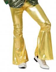 70er Jahre Disco Schlaghose glänzend für Herren gold