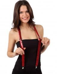 Hosenträger mit Pailletten Kostümaccessoire rot