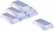 Deko Silberbarren 6 Stück silber 18x8cm