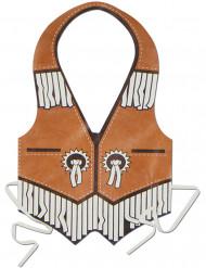 Cowboy Schürze aus Kunststoff für Herren braun-weiss