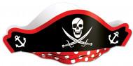 Piratenhut Piratenkapitän Accessoire schwarz-rot-weiss