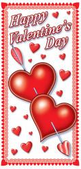 Valentinstag-Türdekoration Herzen mit Liebespfeil rot-weiss 152x76cm
