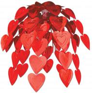 Herz-Wasserfall Valentinstag-Deko rot 61cm