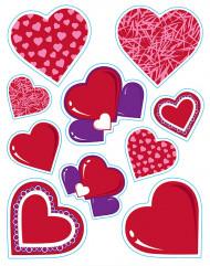 Herzsticker-Set Valentinstag-Deko 20-teilig rot-lila-rosa