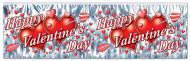 Valentinstag-Girlande Happy Valentine's Day mit Herzen grau-rot-weiss 120x35cm
