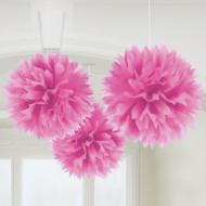 Waben Pompoms Party Hänge-Deko 3 Stück pink 41cm