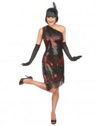 20er-Jahre Charleston Damenkostüm schwarz-rot