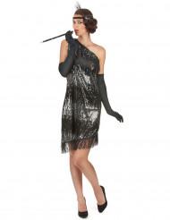 20er Jahre Pailletten-Kleid Damenkostüm schwarz-silber
