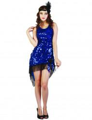 Sexy Charleston-Kleid Damenkostüm 20er Jahre blau-schwarz