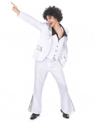 70er-Jahre Disco Kostüm weiss-silber