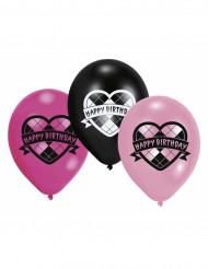 Monster High Luftballon Set Kindergeburtstag-Deko 6 Stück pink-schwarz-weiss