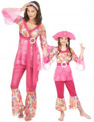 Paarweise Mutter-Tochter-Verkleidung, Blumenkinder - Pink