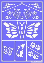 Katzen und Schmetterlinge Grim'tout Schmink-Schablone