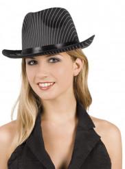 Gestreifter Gangster-Hut für Damen Kostüm-Accessoire schwarz-weiss