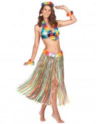 Hawaii-Rock mit Blüten Kostüm-Zubehör lang bunt