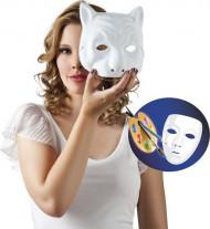 Katzen-Maske zum Bemalen Kostümzubehör weiss