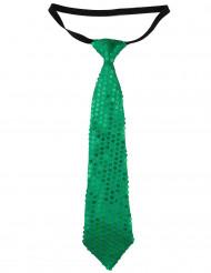 Pailletten Krawatte Karnevalskrawatte grün