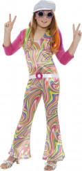 Hippie 60er 70er Mädchen Kinderkostüm pink-gelb-grün