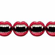 Blutige Vampirbiss Girlande Halloween Party-Deko schwarz-rot 240x12cm