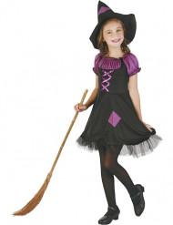 Hexen-Mädchenkostüm Zauberin schwarz-lila