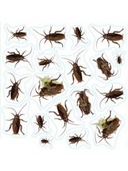Kakerlaken Aufkleber-Set Halloween Party-Deko 19-teilig schwarz