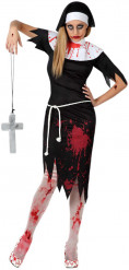 Zombie-Nonne Halloween-Damenkostüm schwarz-weiss-rot