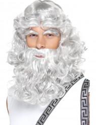 Zeus Gott Moses Antike Herren Perücke mit Bart grau