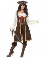 Elegante Piratin Damenkostüm Freibeuterin braun-weiss