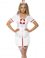 Krankenschwester Kostüm-Set Haube Strumpfband und Schürze 3-teilig weiss-rot