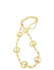 Edle Peace-Halskette Hippiekostüm-Accessoire gold