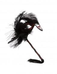 Venezianische Stabmaske Augenmaske mit Federn rot-schwarz