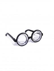 Streber-Brille Nerd Spassbrille rund schwarz