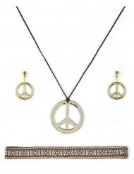 Schmuckset Hippie Damen schwarz-silber