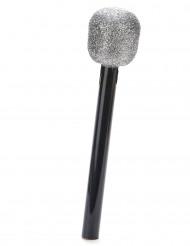 Mikrofon mit Glitzer silber-schwarz 26cm