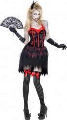 Zombie Burlesque Halloween Damenkostüm schwarz-rot