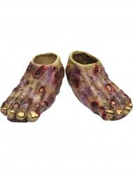 Latexschuhe zum überziehen  Verwesende Monster-Füße Kostümaccessoire grün-rot-gelb