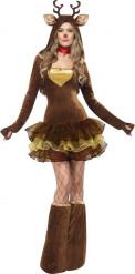 Rentier-Damenkostüm Weihnachtskostüm braun-beige