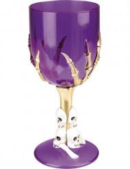 Weinkelch mit Spinnen Partydeko lila-gold-weiss