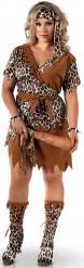Höhlenmensch-Kostüm Damen braun