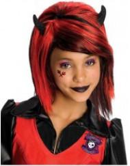Mädchen Gothic Perücke Kostümzubehör schwarz-rot