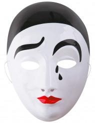 Pierrot Harlekinmaske Kostüm-Accessoire weiss-schwarz